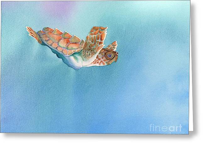 A Turtles Flight Greeting Card by Tracy L Teeter