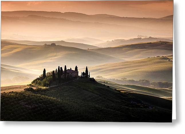 Belvedere Greeting Cards - A Tuscan Country Landscape Greeting Card by Sus Bogaerts