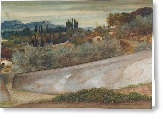 Tuscan Greeting Cards - A Tuscan landscape with village and olive grove Greeting Card by John Roddam Spencer Stanhope