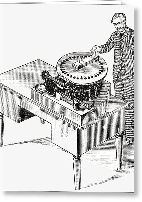 Mechanism Drawings Greeting Cards - A Typewriter Of 1836. From The Strand Greeting Card by Vintage Design Pics