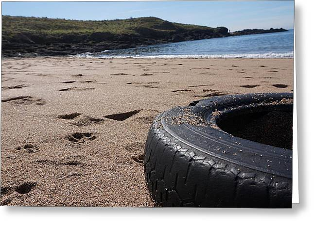 Sort Out Greeting Cards - A tyre by the sea Greeting Card by Russell White