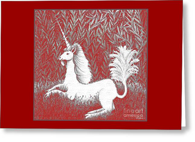 A Unicorn In Moonlight Tapestry Greeting Card by Lise Winne