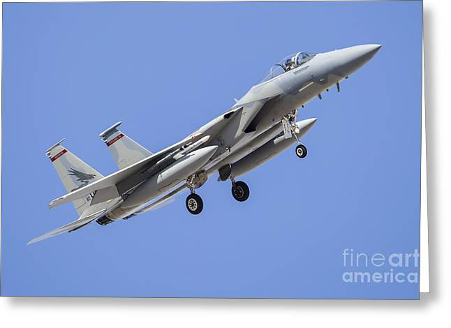 A U.s. Air Force F-15c Turns Greeting Card by Rob Edgcumbe