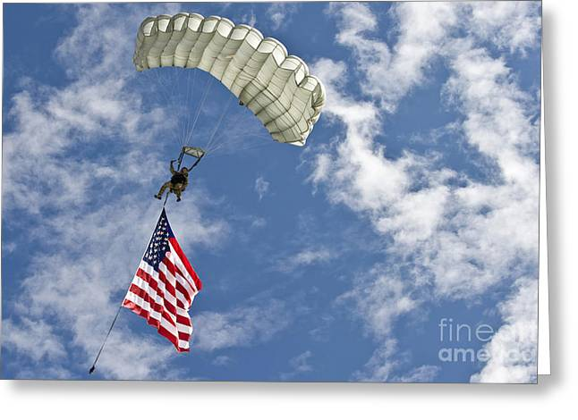 Recently Sold -  - Person Greeting Cards - A U.s. Air Force Member Glides Greeting Card by Stocktrek Images