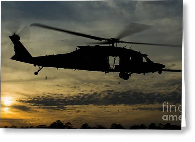 A U.s. Army Uh-60 Black Hawk Leaves Greeting Card by Stocktrek Images