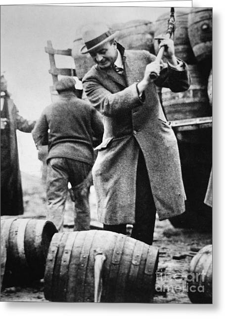 A Us Federal Agent Broaching A Beer Barrel From An Illegal Cargo During The American Prohibition Era Greeting Card by American School