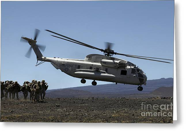 Hovering Greeting Cards - A U.s. Marine Corps Ch-53d Seahawk Greeting Card by Stocktrek Images