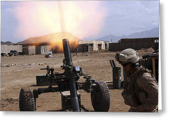 A U.s. Marine Corps Gunner Fires Greeting Card by Stocktrek Images