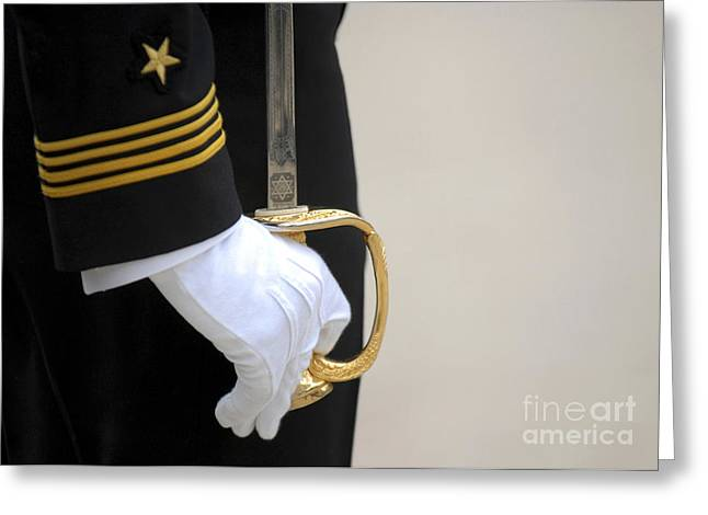 Sleeve Greeting Cards - A U.s. Naval Academy Midshipman Stands Greeting Card by Stocktrek Images