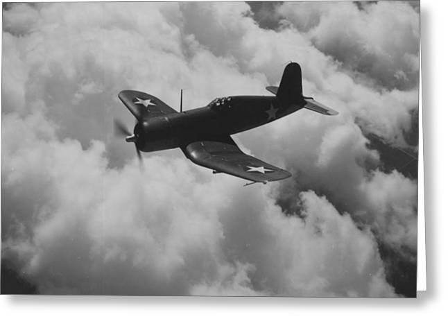 Gray Sky Greeting Cards - A US Navy Fighter Corsair In Flight Greeting Card by American School