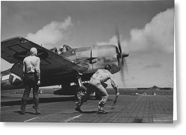 Plane Engine Greeting Cards - A US Navy Fighter Pilot Gets The Take Off Flag From The Deck Crew Of An Aircraft Carrier Greeting Card by American School