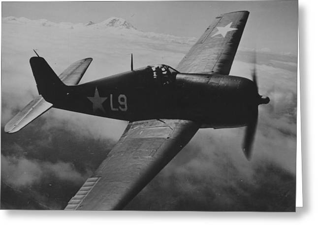 A Us Navy Hellcat Fighter Aircraft In Flight Greeting Card by American School