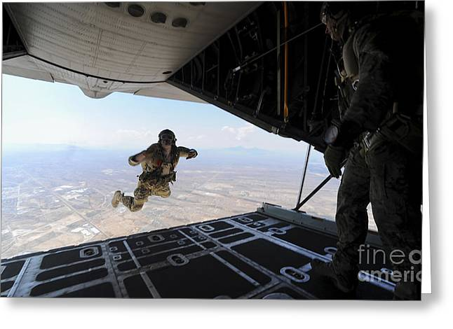 Drop Zone Greeting Cards - A U.s. Soldier Conducts A Training Jump Greeting Card by Stocktrek Images