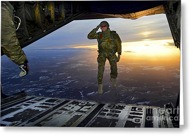 C-130 Hercules Greeting Cards - A U.s. Soldier Salutes His Fellow Greeting Card by Stocktrek Images
