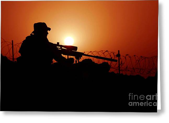 On The Lookout Greeting Cards - A U.s. Special Forces Soldier Armed Greeting Card by Stocktrek Images