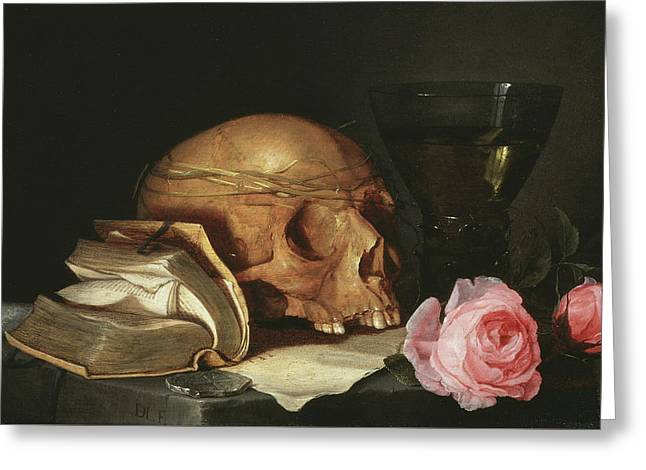 A Vanitas Still Life With A Skull, A Book And Roses Greeting Card by Jan Davidsz de Heem