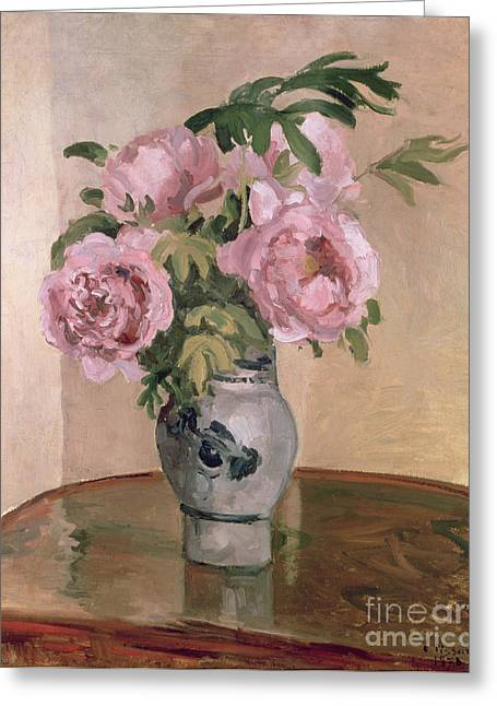 Pissarro; Camille (1830-1903) Greeting Cards - A Vase of Peonies Greeting Card by Camille Pissarro