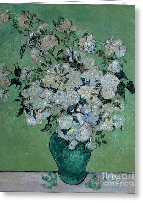 Vangogh Paintings Greeting Cards - A Vase of Roses Greeting Card by Vincent van Gogh
