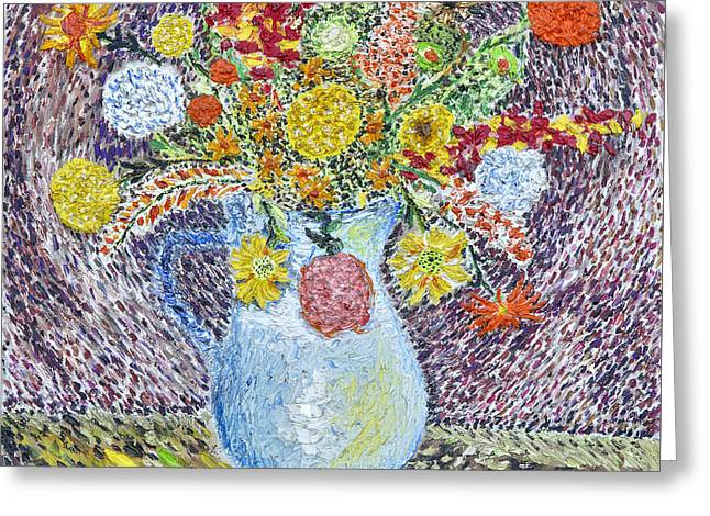 A Vase With Flowers Greeting Card by Arnold Bernstein