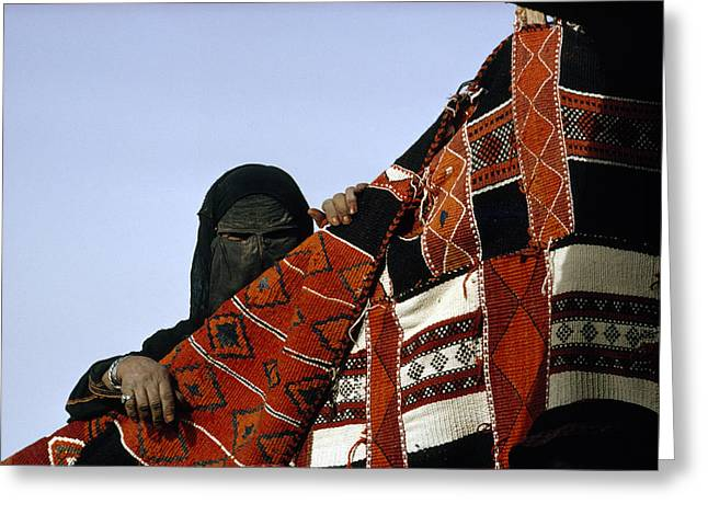 Black Veil Greeting Cards - A Veiled Bedouin Woman Peers Greeting Card by Thomas J. Abercrombie