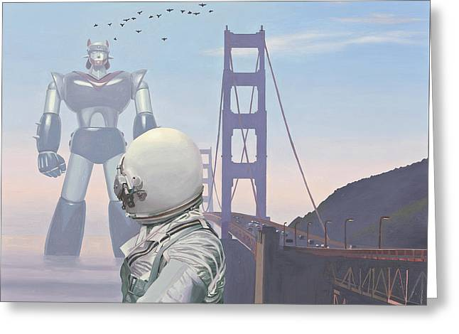 Golden Gate Greeting Cards - A Very Large Robot Greeting Card by Scott Listfield