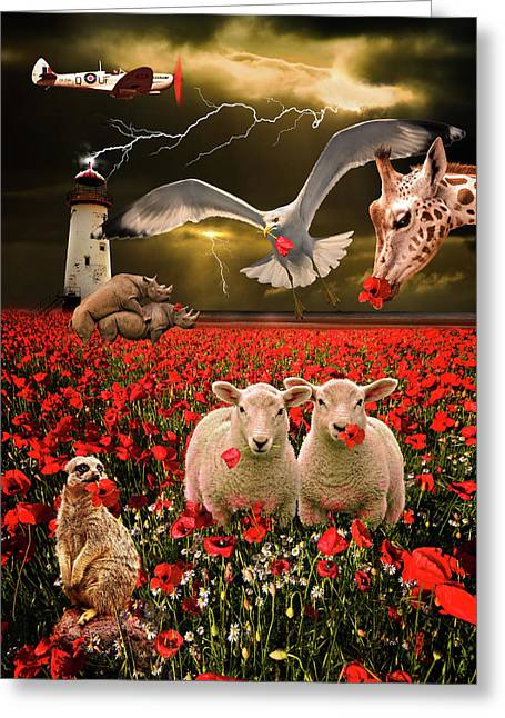 Spitfire Greeting Cards - A Very Strange Dream Greeting Card by Meirion Matthias