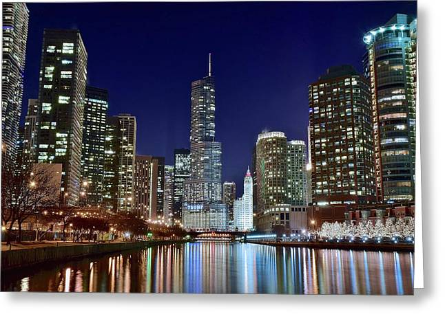 Hancock Greeting Cards - A View Down the Chicago River Greeting Card by Frozen in Time Fine Art Photography