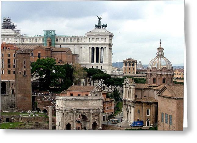 Cupola Digital Art Greeting Cards - A View from Palatine Hill in Rome Italy Greeting Card by Mindy Newman