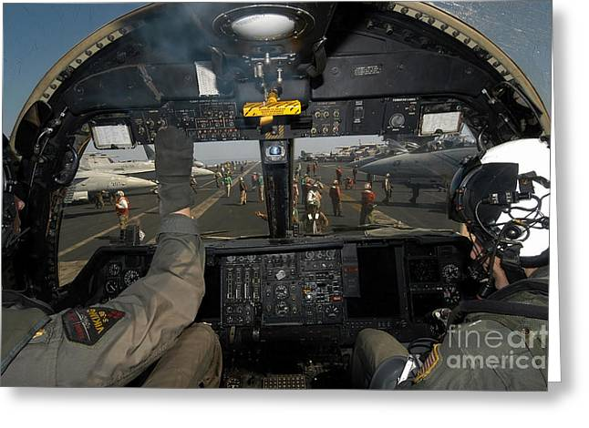 Carrier Greeting Cards - A View From The Tactical Coordinators Greeting Card by Stocktrek Images