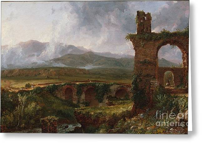 Cole Paintings Greeting Cards - A View near Tivoli Greeting Card by Celestial Images