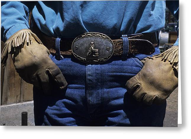 Leather Belt Greeting Cards - A View Of A Cowboys Prized Possesion Greeting Card by Taylor S. Kennedy