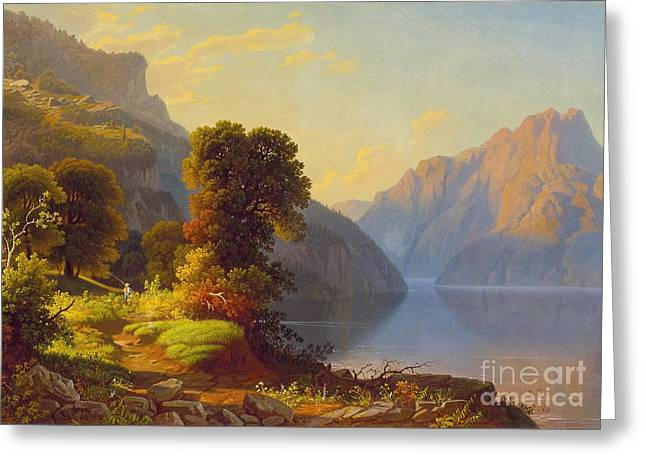 The Lake George Greeting Cards - A View of a Lake in the Mountains Greeting Card by Celestial Images