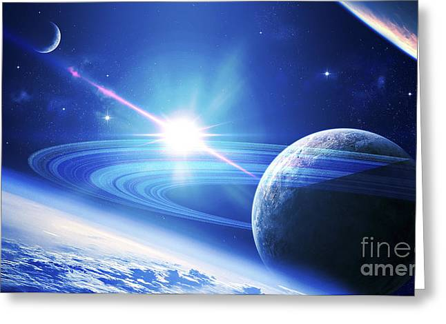 Ring Systems Greeting Cards - A View Of A Planet As It Looms In Close Greeting Card by Kevin Lafin