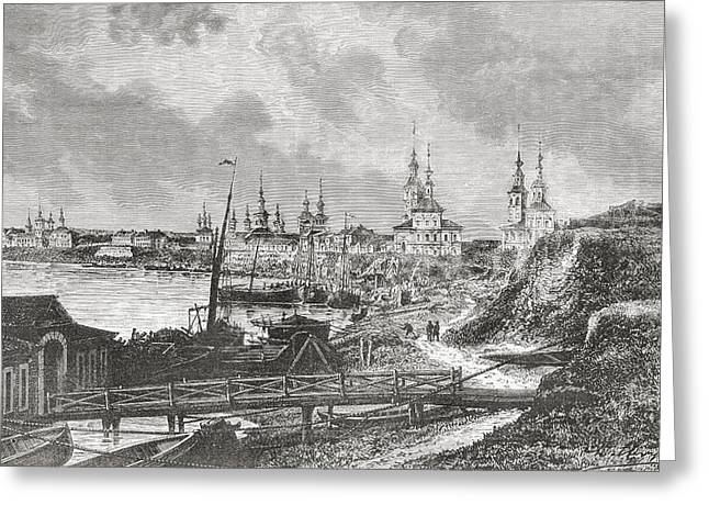 Archangel Drawings Greeting Cards - A View Of Arkhangelsk, Russia In The Greeting Card by Vintage Design Pics