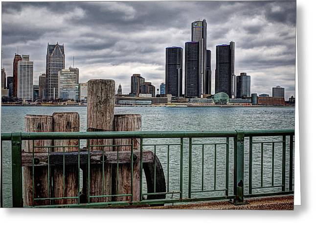 A View Of Detroit Greeting Card by Pat Eisenberger