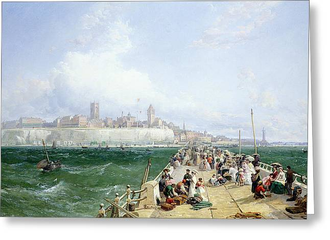 Promenade Greeting Cards - A View of Margate from the Pier Greeting Card by James Webb