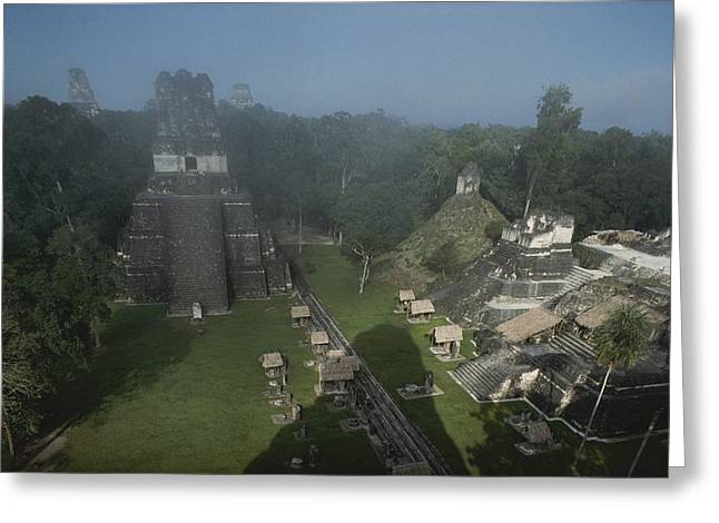Pre Columbian Architecture And Art Greeting Cards - A View Of Mayan Ruins At Tikal Greeting Card by Kenneth Garrett