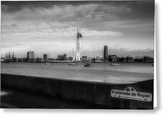 Esplanade Outdoors Greeting Cards - A View Of Portsmouth England - Black And White Greeting Card by Roman Grac
