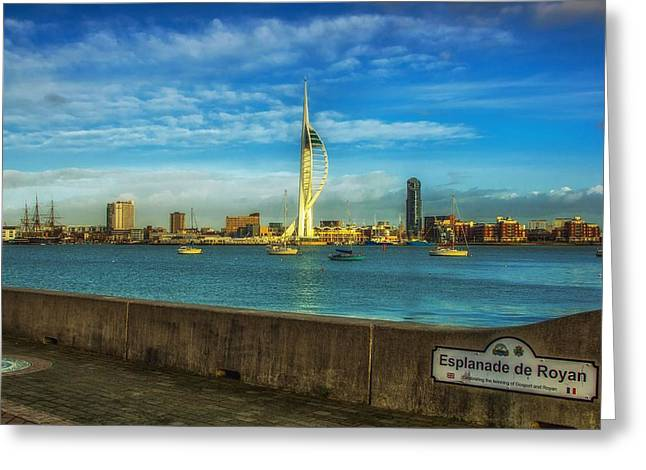 Esplanade Outdoors Greeting Cards - A View Of Portsmouth England Greeting Card by Roman Grac