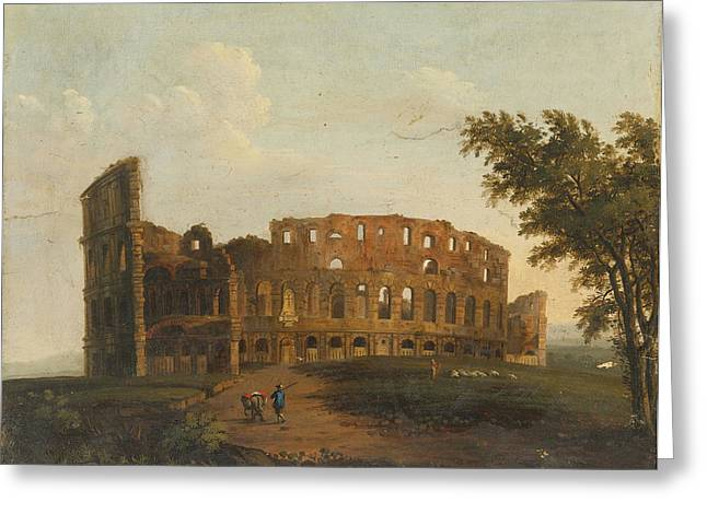 Lint Greeting Cards - A View Of The Colosseum Greeting Card by Hendrik Frans van Lint