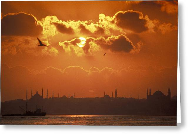 Golden Horn Greeting Cards - A View Of The Golden Horn And Istanbuls Greeting Card by Richard Nowitz