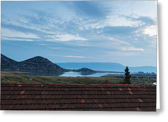 A View Of The Lake, The Mountains And The Twilight Evening Sky Greeting Card by George Westermak