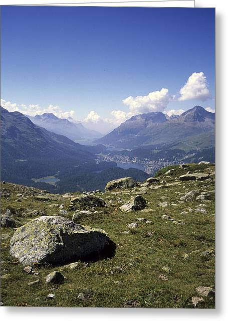 Graubunden Greeting Cards - A View Of The Lakes Down The Engadine Greeting Card by Taylor S. Kennedy
