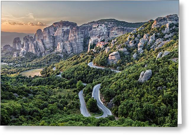 A View Of The Meteora Valley In Greece Greeting Card by Andres Leon
