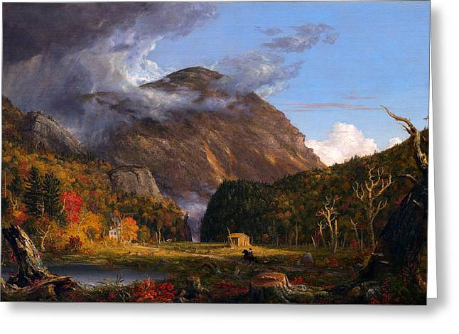 Mountain Cabin Greeting Cards - A View of the Mountain Pass Called the Notch of the White Mountans  Greeting Card by Thomas Cole