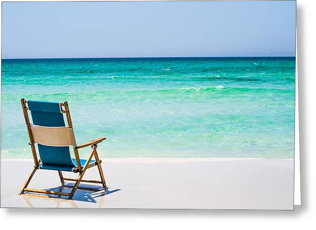 Empty Chairs Greeting Cards - A View of the Ocean Greeting Card by Shelby  Young