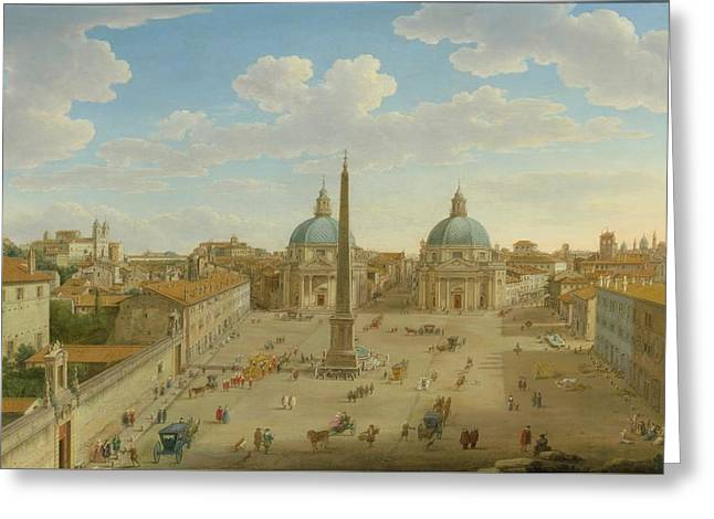 A View Of The Piazza Del Popolo Greeting Card by Hendrik Frans