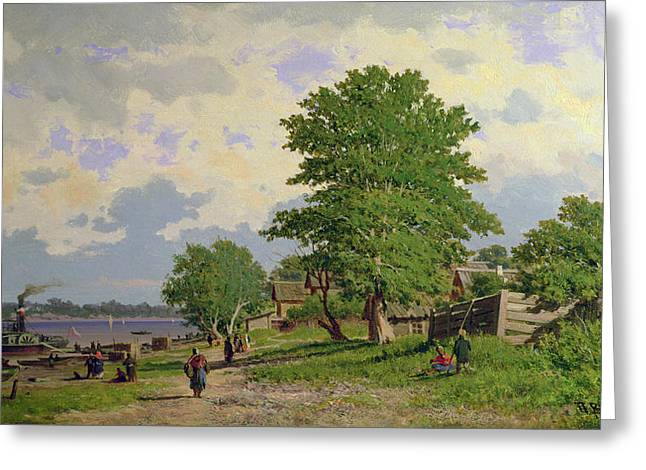 Nature Scene Paintings Greeting Cards - A View of the River Volga Greeting Card by Piotr Petrovitch Weretshchagin