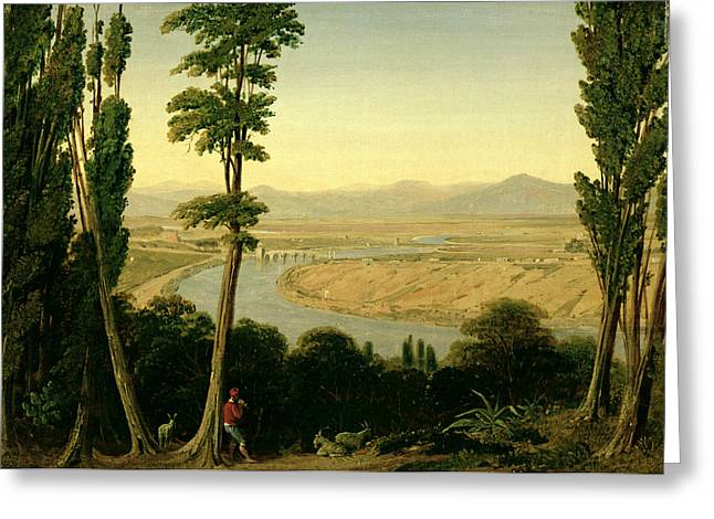 Arcadian Greeting Cards - A View of the Tiber and the Roman Campagna from Monte Mario Greeting Card by William Linton