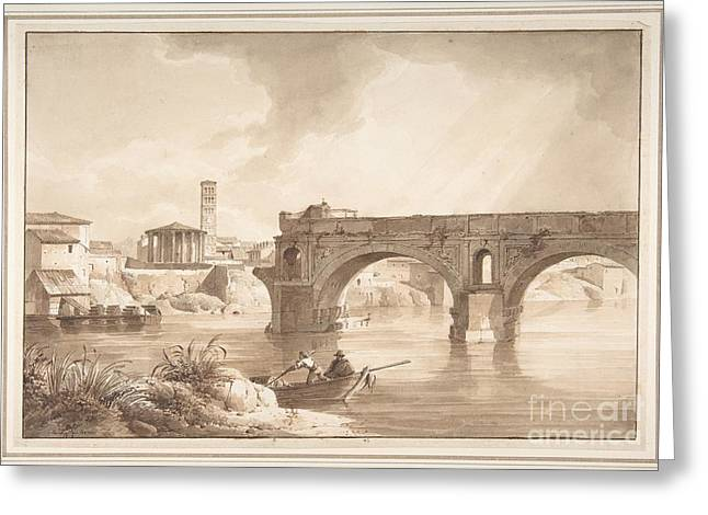 Sun Of Beach Drawings Greeting Cards - A View of the Tiber from the North Bank Greeting Card by Celestial Images